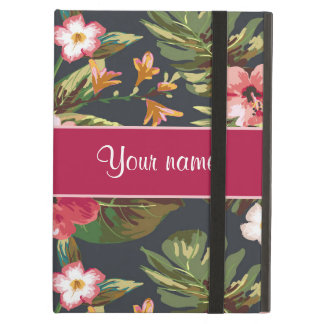 Elegant Tropical Hibiscus Flowers and Leaves Cover For iPad Air