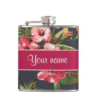 Elegant Tropical Hibiscus Flowers and Leaves Flasks