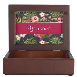 Elegant Tropical Hibiscus Flowers and Leaves Memory Box