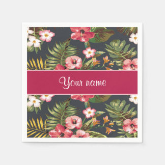 Elegant Tropical Hibiscus Flowers and Leaves Paper Napkins