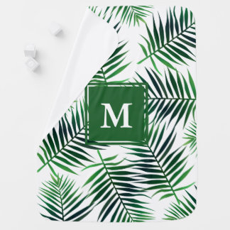 Elegant Tropical Island Palm Leaves Jungle Foliage Baby Blanket