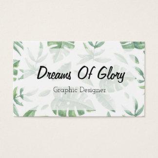 Elegant Tropical Leaf Print on White Business Card