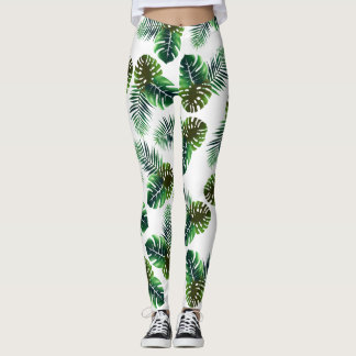 Elegant Tropical Leaves Jungle Foliage Leggings