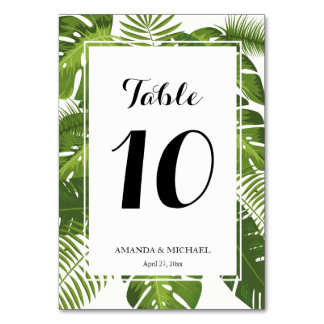 Elegant tropical leaves table number card
