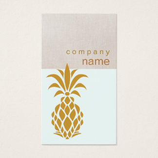 Elegant Tropical Pineapple Logo Business Card