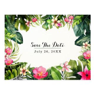 Elegant Tropics Green Leaves Floral Save the Date Postcard