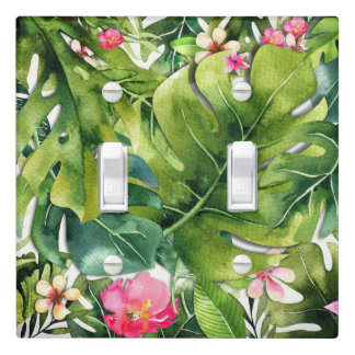 Elegant Tropics Green Leaves Floral Watercolor Light Switch Cover