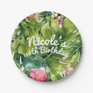 Elegant Tropics Green Leaves Floral Watercolor Paper Plate