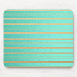 Elegant Turquoise and Gold Shimmer Stripes Mouse Pad