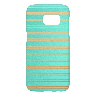 Elegant Turquoise and Gold Shimmer Stripes Samsung Galaxy S7 Case