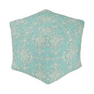 Elegant Turquoise and Off White Damask Pattern Pouf