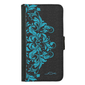 Elegant Turquoise & Black Girly Floral Lace Samsung Galaxy S5 Wallet Case