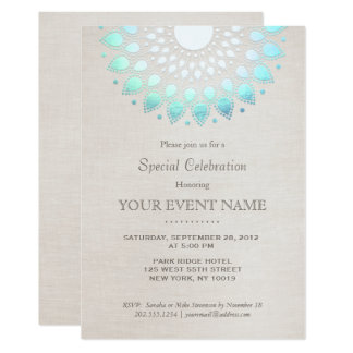 Elegant Turquoise Blue Beige Linen Look Card