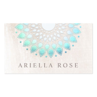 Elegant Turquoise Blue Floral Lotus White Marble Business Card