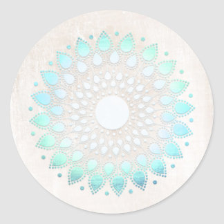 Elegant Turquoise Floral Lotus White Marble Classic Round Sticker