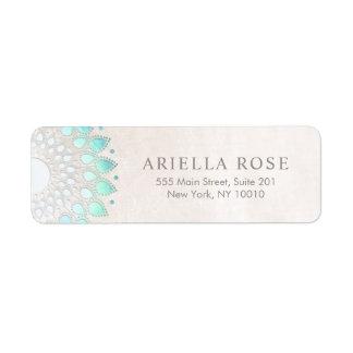 Elegant Turquoise Floral Lotus White Marble Return Address Label