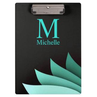 Elegant Turquoise Floral Personalized Monogram Clipboard
