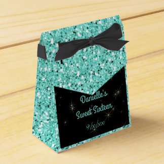 Elegant Turquoise Glitter, Sweet Sixteen, Custom Party Favor Boxes