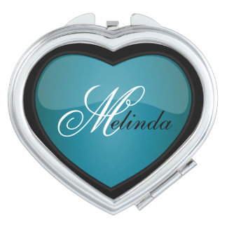 Elegant Turquoise Heart | Personalize Compact Mirror
