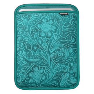 Elegant Turquoise Leather Look Embossed Flowers iPad Sleeve