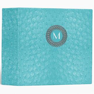 Elegant Turquoise Ostrich Leather Look Monogram Vinyl Binder