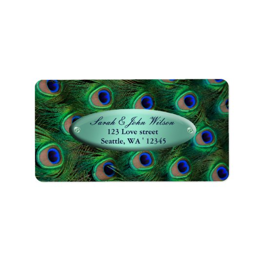 elegant turquoise peacock address label