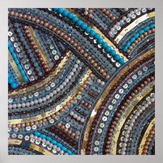 Elegant turquoise sequined poster