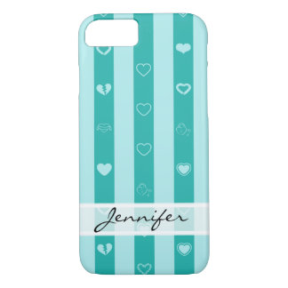 Elegant Turquoise Stripes Modern Heart Pattern iPhone 8/7 Case