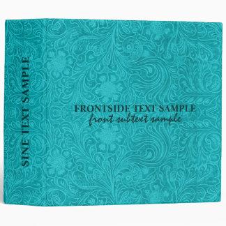Elegant Turquoise Suede Leather Floral Design Vinyl Binder