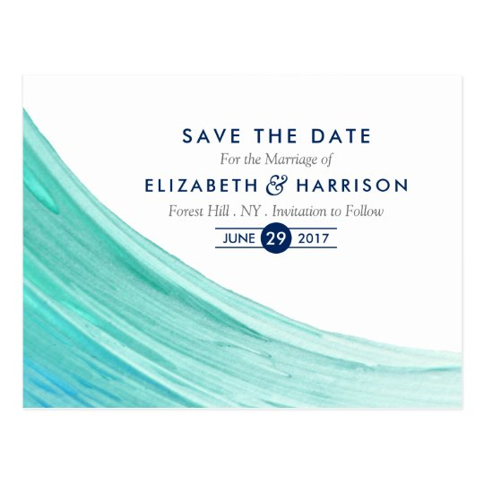 Elegant Turquoise Tides Beach Save The Date Postcard