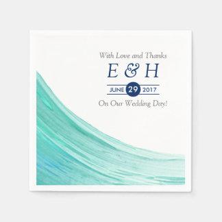 Elegant Turquoise Tides Beach Wedding Napkin
