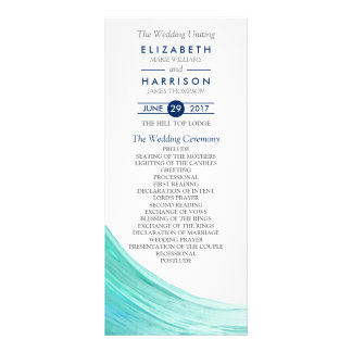 Elegant Turquoise Tides Beach Wedding Program