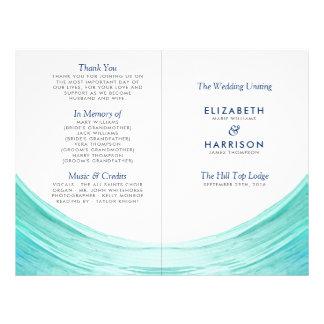 Elegant Turquoise Tides Beach Wedding Program