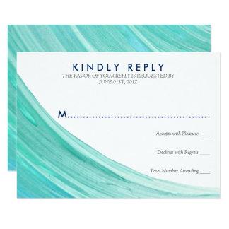 "Elegant Turquoise Tides Beach Wedding RSVP Card 3.5"" X 5"" Invitation Card"