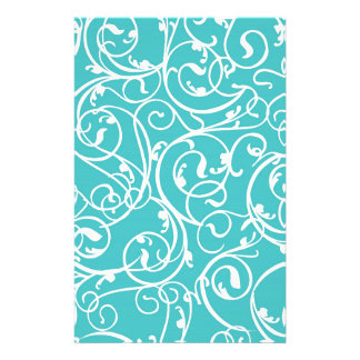 Elegant Turquoise Vintage Scroll Damask Pattern Custom Stationery