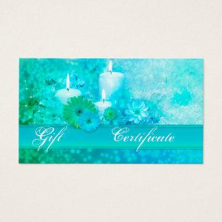 Elegant Turquoise Wellness Gift Voucher Template Business Card