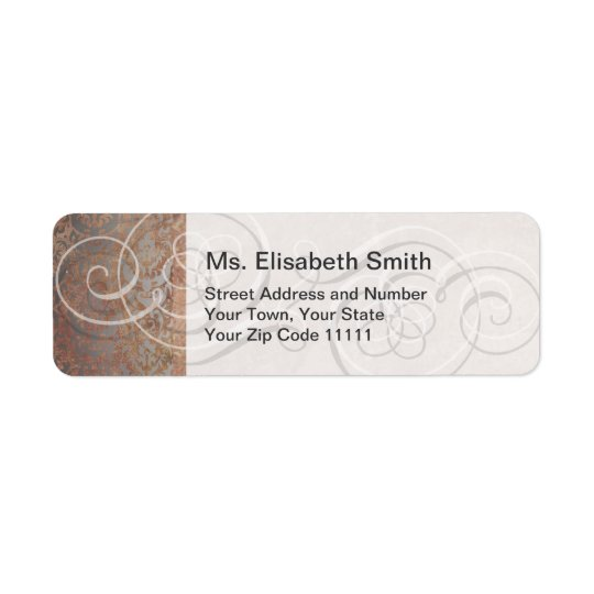 Elegant Tuscan Damask Swirls Vintage Return Address Label