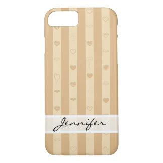 Elegant Tuscan Stripes Modern Heart Pattern iPhone 8/7 Case