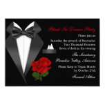 Elegant Tux & Rose Black Tie Dinner Party Invite