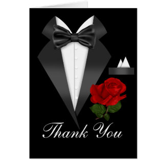 Elegant Tux & Rose Black Tie Party Thank You Card