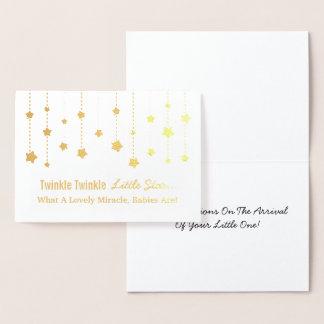 Elegant Twinkle Twinkle Little Star Gold Foil Foil Card