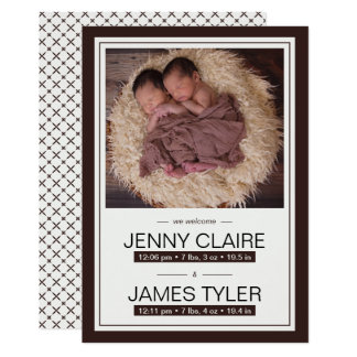 Elegant Twins Baby Birth Announcement