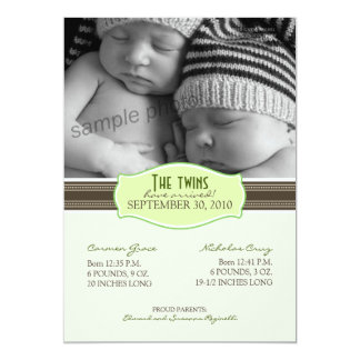 "Elegant Twins Birth Announcement: Lime Green 5"" X 7"" Invitation Card"
