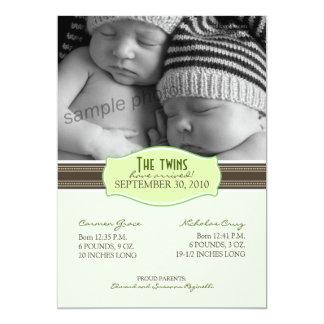 Elegant Twins Birth Announcement: Lime Green Card