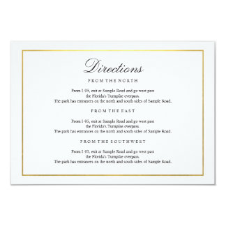 Elegant Type Black & White Gold Border Enclosure Card