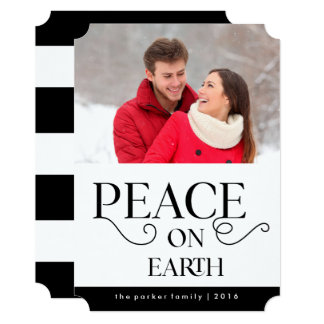 Elegant Typography Christmas Peace on Earth Photo Card