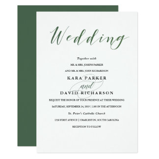 Elegant Typography | Deep Green Wedding Card