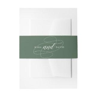 Elegant Typography | Deep Green Wedding Invitation Belly Band