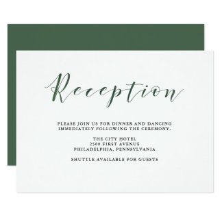 Elegant Typography | Deep Green Wedding Reception Card