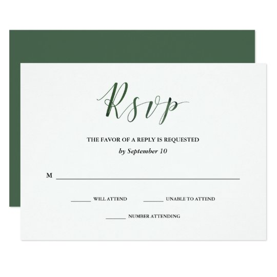 Elegant Typography | Deep Green Wedding RSVP Card